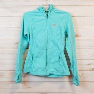 The North Face women's blue zip up fleece hoodie